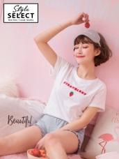 草莓字母刺繡高含棉圓領上衣