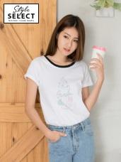 高含棉冰淇淋聖代印花撞色圓領T恤上衣