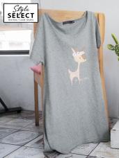 台灣製造. 小鹿字母燙印下襬不規則竹節棉上衣