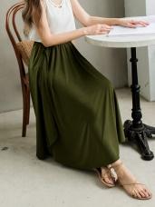 造型拼接垂墜涼感純色A字長裙