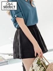 玫瑰刺繡涼感不易皺素面褲裙