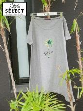台灣製造. 椰子樹燙印圖下襬不規則竹節棉長版上衣