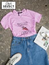 台灣製造.星星字母燙印設計V領鏤空竹節棉上衣