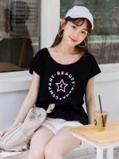 台灣製造.星星月亮字母配色燙印高含棉寬版上衣