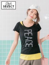 PEACE字母燙印鏤空剪裁高含棉兩件式上衣
