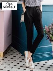 台灣製造.玉米布立體紋理素面窄管褲
