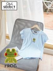 可愛青蛙字母刺繡高含棉上衣