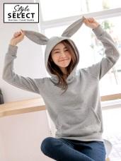造型兔耳連帽內刷毛上衣