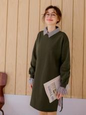 直條紋襯衫領拼接純色假兩件洋裝