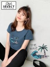 高含棉度假沙灘椰子印圖T恤