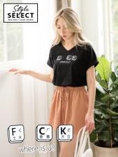 高含棉V領創意英文單字印圖T恤