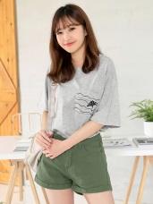 高含棉海底魟魚印圖寬鬆T恤