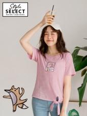 相片風可愛動物英文刺繡下襬綁結竹節棉T恤