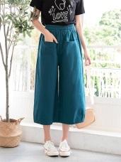 高含棉腰鬆緊雙口袋七分寬褲