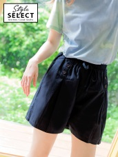 高含棉腰抽繩四釦拼接抓褶短褲