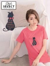 高含棉貓咪背影印字圓領上衣