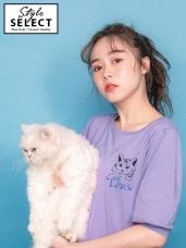 高含棉貓咪印花拋袖五分袖上衣