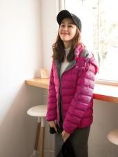兩用撞色連帽輕量科技羽絨棉外套/頸枕外套