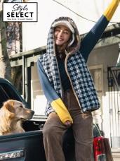 英倫風格紋拼接保暖絨毛連帽正反雙穿背心