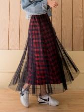 腰鬆緊網紗拼接格紋長裙-3色