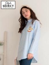 高含棉直條紋可愛松鼠刺繡長袖襯衫
