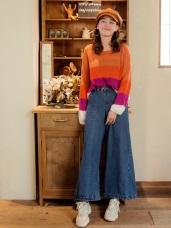 高含棉格紋拼接寬版韓風牛仔褲