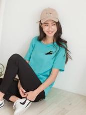 黃阿瑪系列~純棉SOCLES星星刺繡下襬剪接T恤
