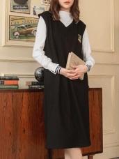 微高領袖口反褶拼接條紋設計長袖上衣