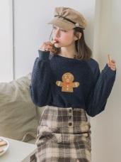 圓領絨毛可愛薑餅人刺繡長袖上衣