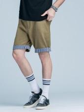 直條紋反摺造型休閒短褲‧3色