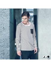 橫條紋口袋造型圓領上衣‧3色