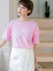 情侶系列~高含棉HER刺繡荷葉袖上衣(女)