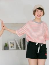 情侶系列~多彩配色橫條紋短袖上衣(男女共版)