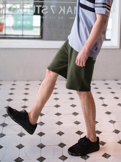 腰鬆緊抽繩綁帶棉感休閒短褲