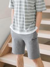 情侶系列~腰抽繩鬆緊字母印花刺繡棉質短褲(男)