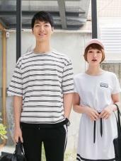 情侶系列~假兩件配色橫條紋高含棉短袖上衣