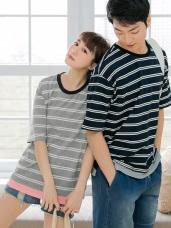 情侶系列~假兩件配色橫條紋高含棉短袖上衣(女)