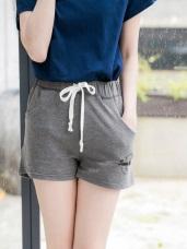 腰抽繩鬆緊字母印花刺繡棉質短褲