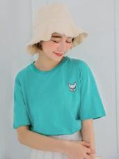 情侶系列~高含棉柴犬/鬥牛犬刺繡短袖上衣(男女共版)