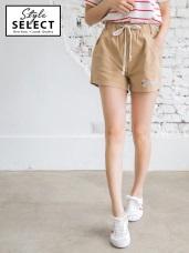 情侶系列~高含棉腰抽繩字母刺繡寬鬆短褲