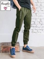 情侶系列~腰抽繩鬆緊星星字母刺繡縮口長褲