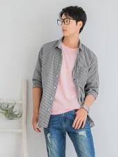 情侶系列~高含棉配色細格紋長袖襯衫