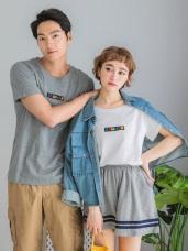 情侶系列~高含棉胸前SUMMER刺繡袖反褶上衣(女)