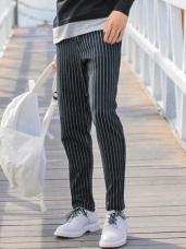 配色直條紋棉麻直筒褲