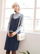 情侶系列~配色直條紋棉麻質感寬鬆吊帶裙