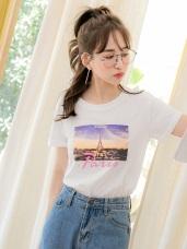 情侶系列~高含棉相片燙印短袖上衣(女)