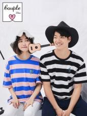 情侶系列~高含棉人物刺繡配色條紋短袖上衣(男)