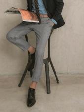 低調格紋直筒西裝休閒褲