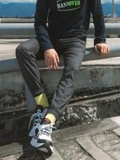 全鬆緊腰頭綁帶設計直條紋束口褲