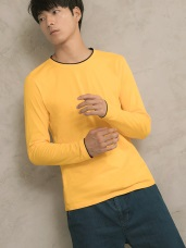 圓領撞色素面長袖上衣